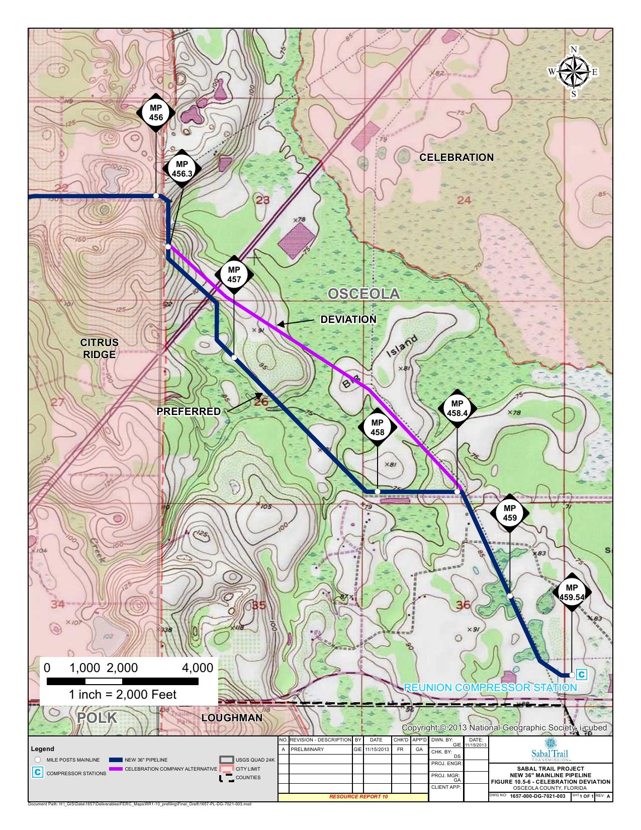 Celebration Deviation, Osceola County, Florida, in Alternatives, by Sabal Trail Transmission, for FERC Docket No. PF14-1-000, 15 November 2013, converted by SpectraBusters
