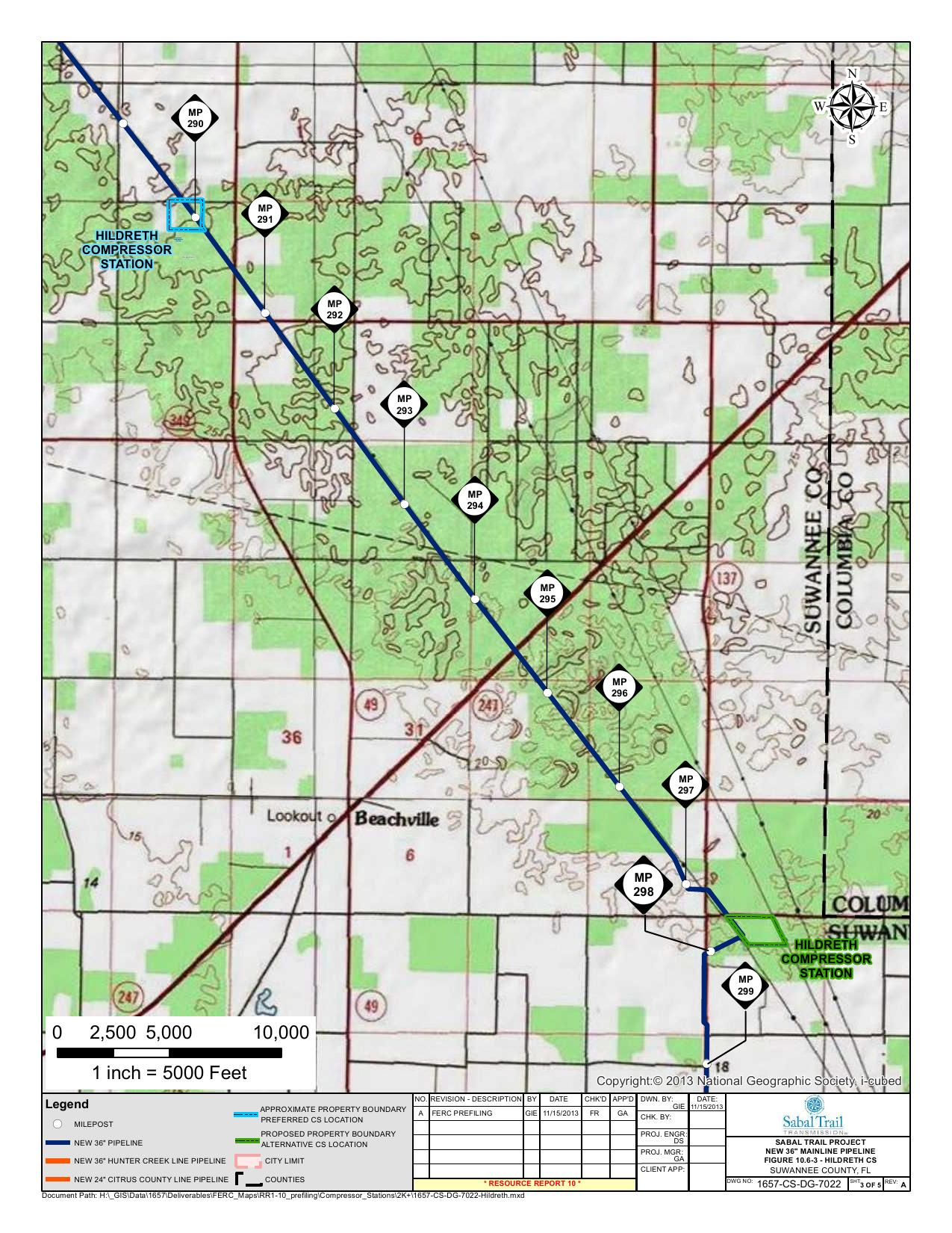 Hildreth Compressor Station, Suwannee County, Florida, in Alternatives, by Sabal Trail Transmission, for FERC Docket No. PF14-1-000, 15 November 2013, converted by SpectraBusters