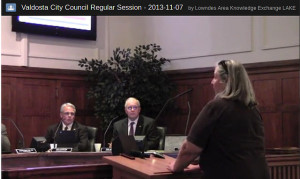 Carol Singletary at Valdosta City Council