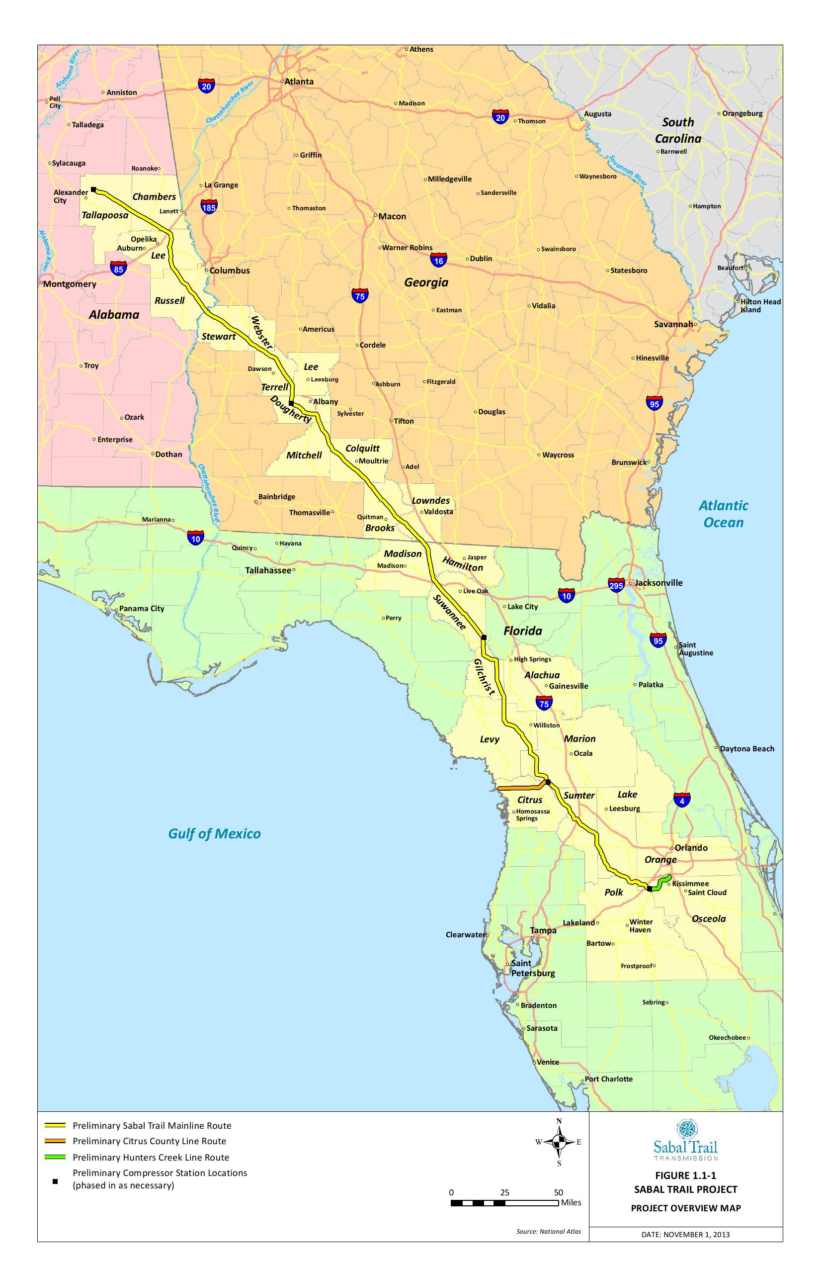 Detailed project overview map from Sabal Trail | SpectraBusters