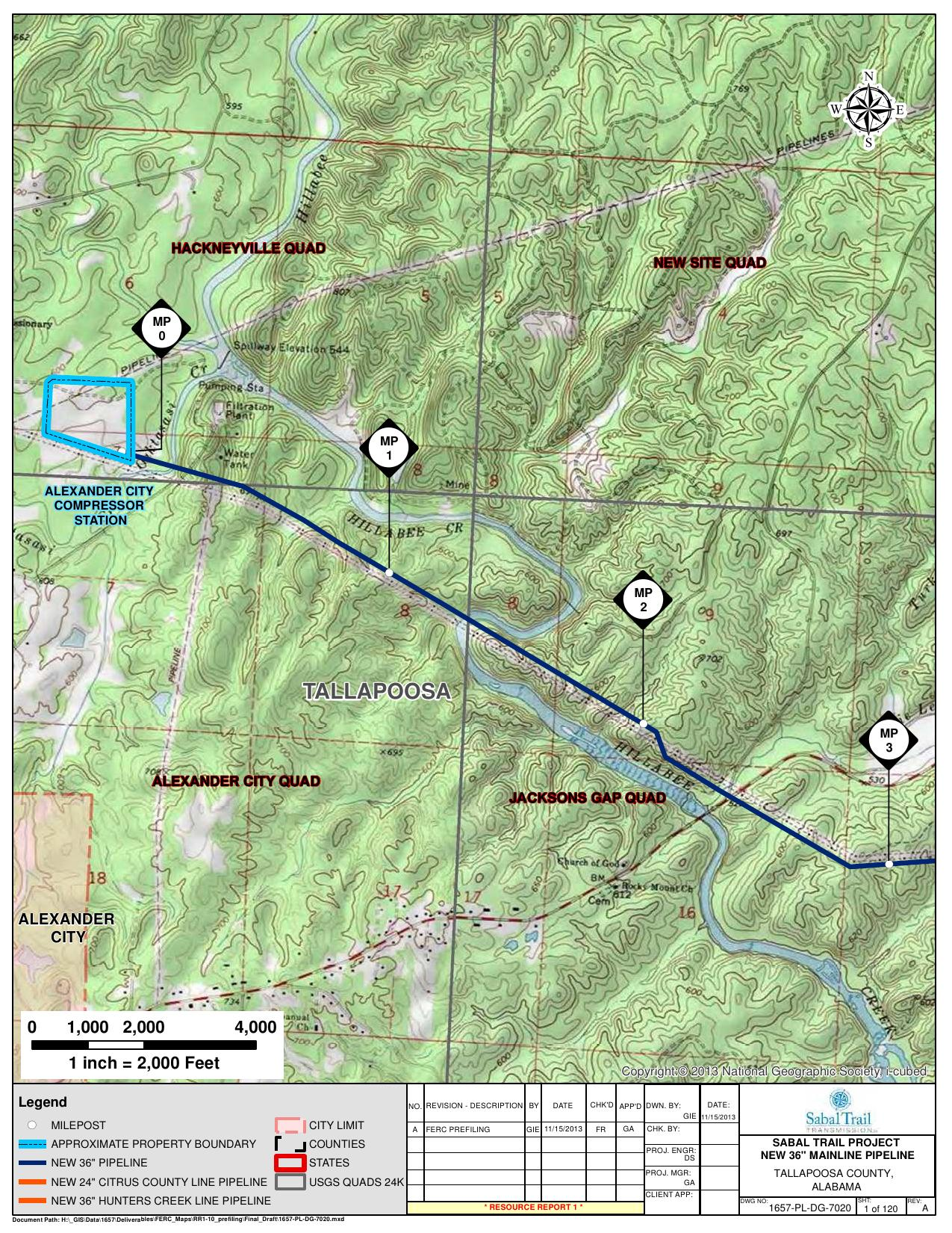 Alexander City Quad, Tallapoosa County, Alabama, in General Project Description, by SpectraBusters, for FERC Docket No. PF14-1-000, 15 November 2013, converted by SpectraBusters
