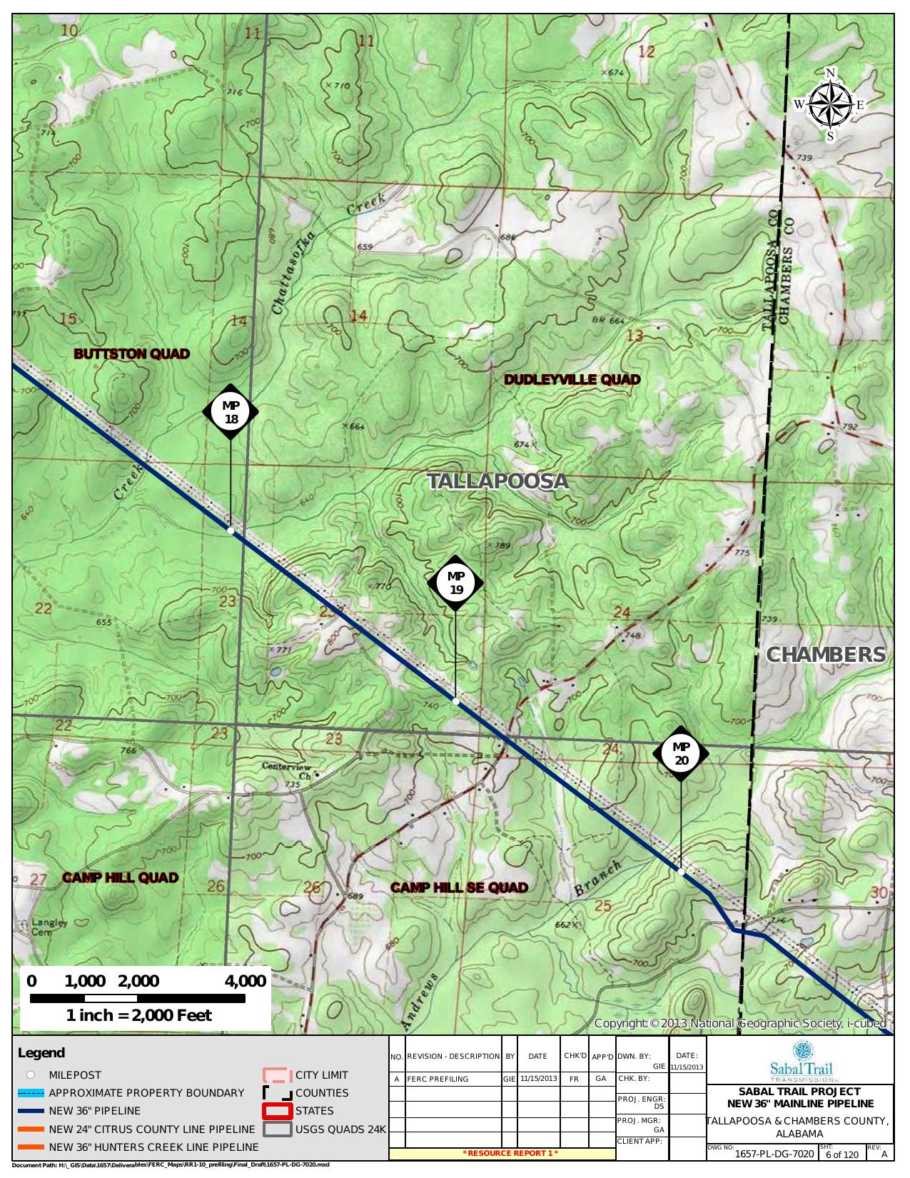 Chattasofka Creek, Dudleyville Quad, Tallapoosa and Chambers County, Alabama, in General Project Description, by SpectraBusters, for FERC Docket No. PF14-1-000, 15 November 2013, converted by SpectraBusters