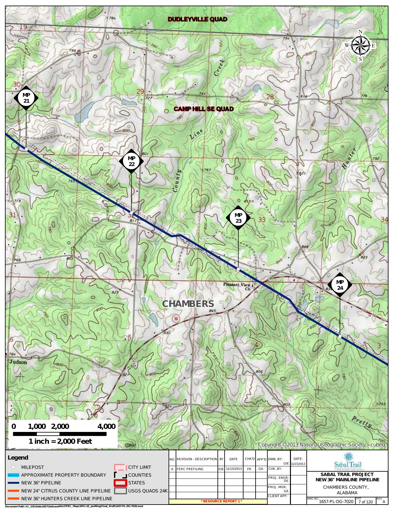 County Line Creek, Camp Hill SE Quad, Chambers County, Alabama, in General Project Description, by SpectraBusters, for FERC Docket No. PF14-1-000, 15 November 2013, converted by SpectraBusters