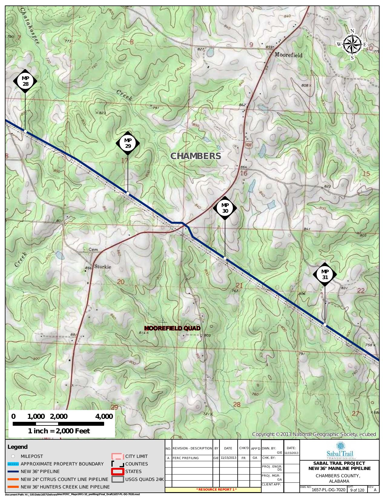 Moorefield, Moorefield Quad, Chambers County, Alabama, in General Project Description, by SpectraBusters, for FERC Docket No. PF14-1-000, 15 November 2013, converted by SpectraBusters