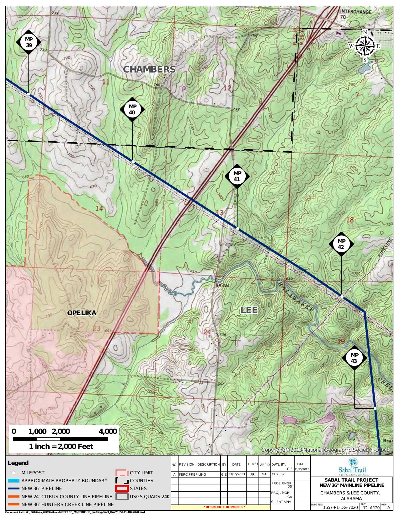 Opelika, Chambers and Lee County, Alabama, in General Project Description, by SpectraBusters, for FERC Docket No. PF14-1-000, 15 November 2013, converted by SpectraBusters