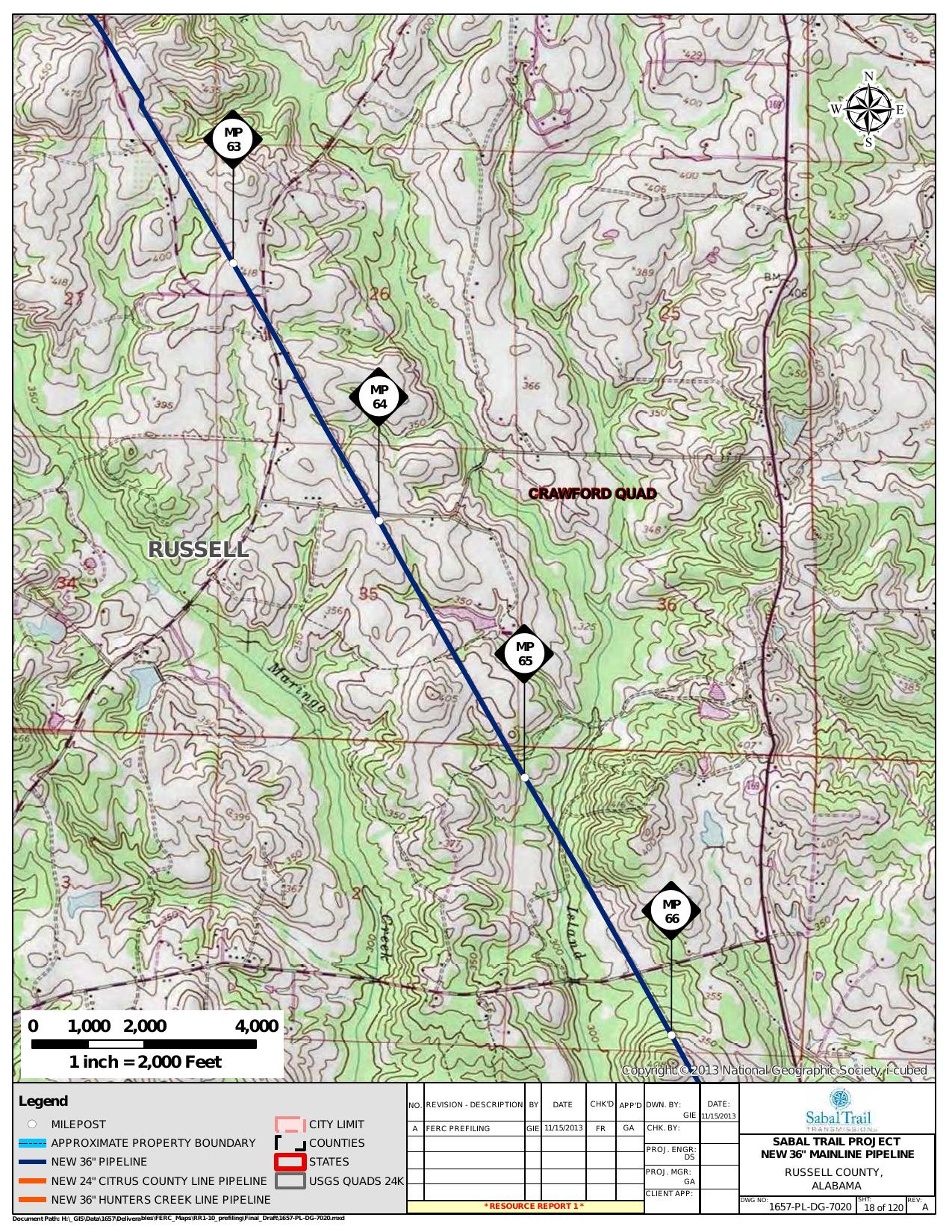 Maringo Creek, Russell County, Alabama, in General Project Description, by SpectraBusters, for FERC Docket No. PF14-1-000, 15 November 2013, converted by SpectraBusters
