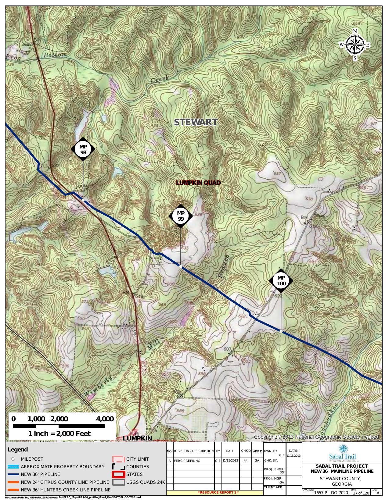 Mill Branch, Stewart County, Georgia, in General Project Description, by SpectraBusters, for FERC Docket No. PF14-1-000, 15 November 2013, converted by SpectraBusters