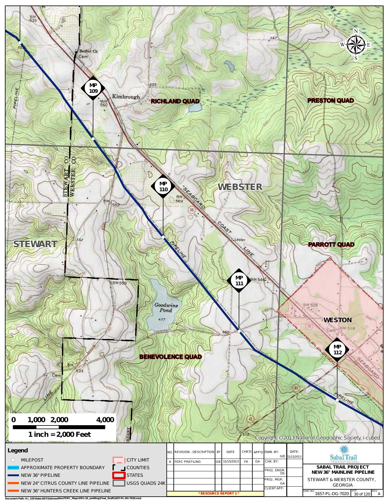 Weston, Stewart and Webster County, Georgia, in General Project Description, by SpectraBusters, for FERC Docket No. PF14-1-000, 15 November 2013, converted by SpectraBusters