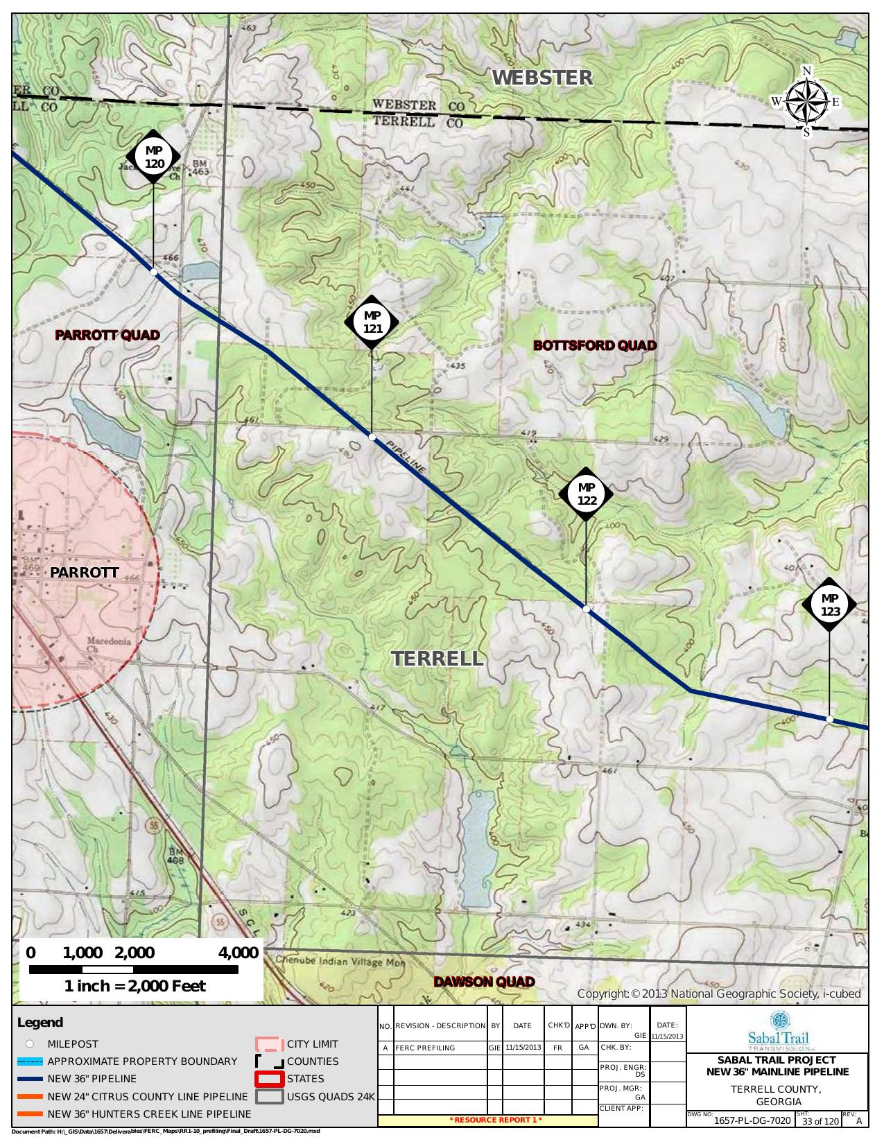 Parrott, Terrell County, Georgia, in General Project Description, by SpectraBusters, for FERC Docket No. PF14-1-000, 15 November 2013, converted by SpectraBusters