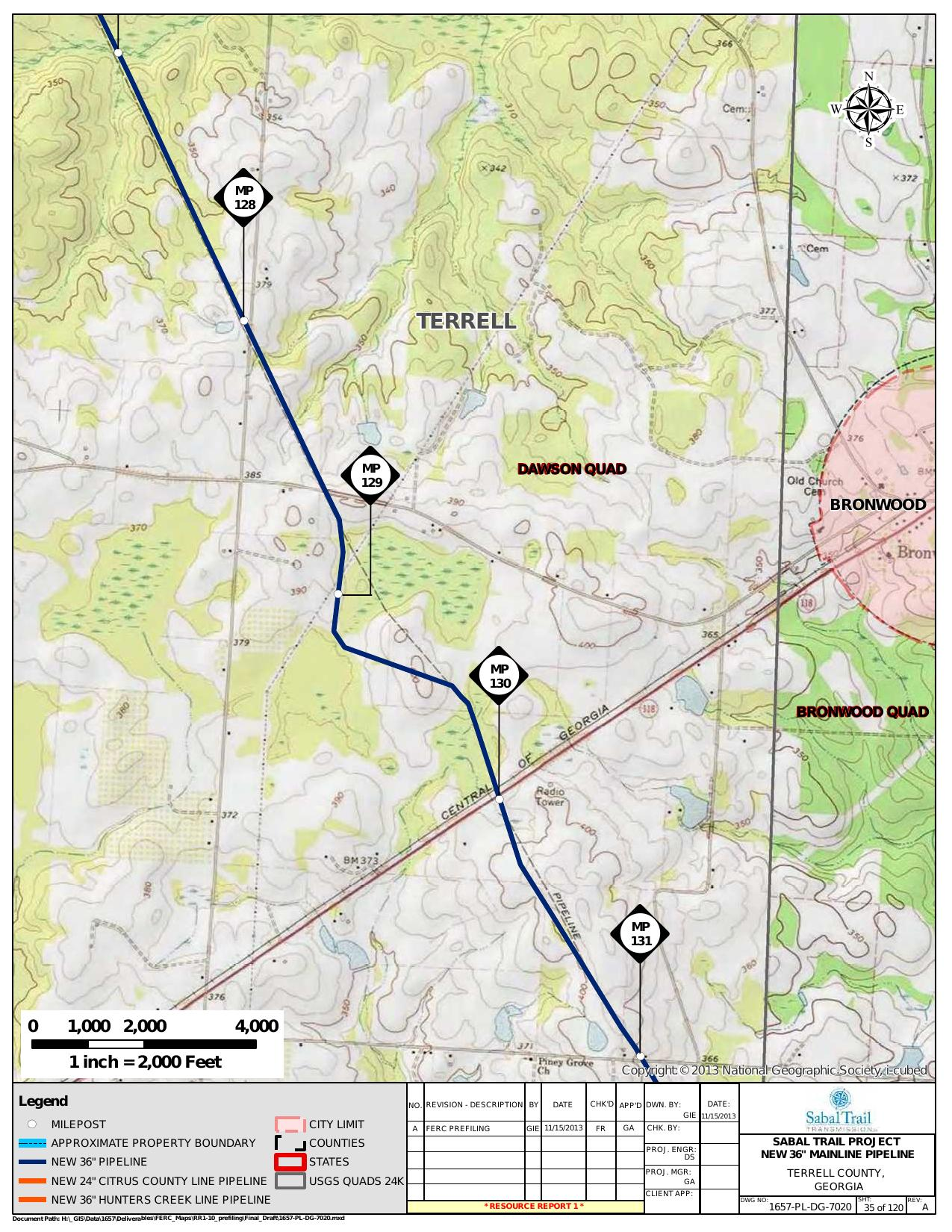 Bronwood, Terrell County, Georgia, in General Project Description, by SpectraBusters, for FERC Docket No. PF14-1-000, 15 November 2013, converted by SpectraBusters