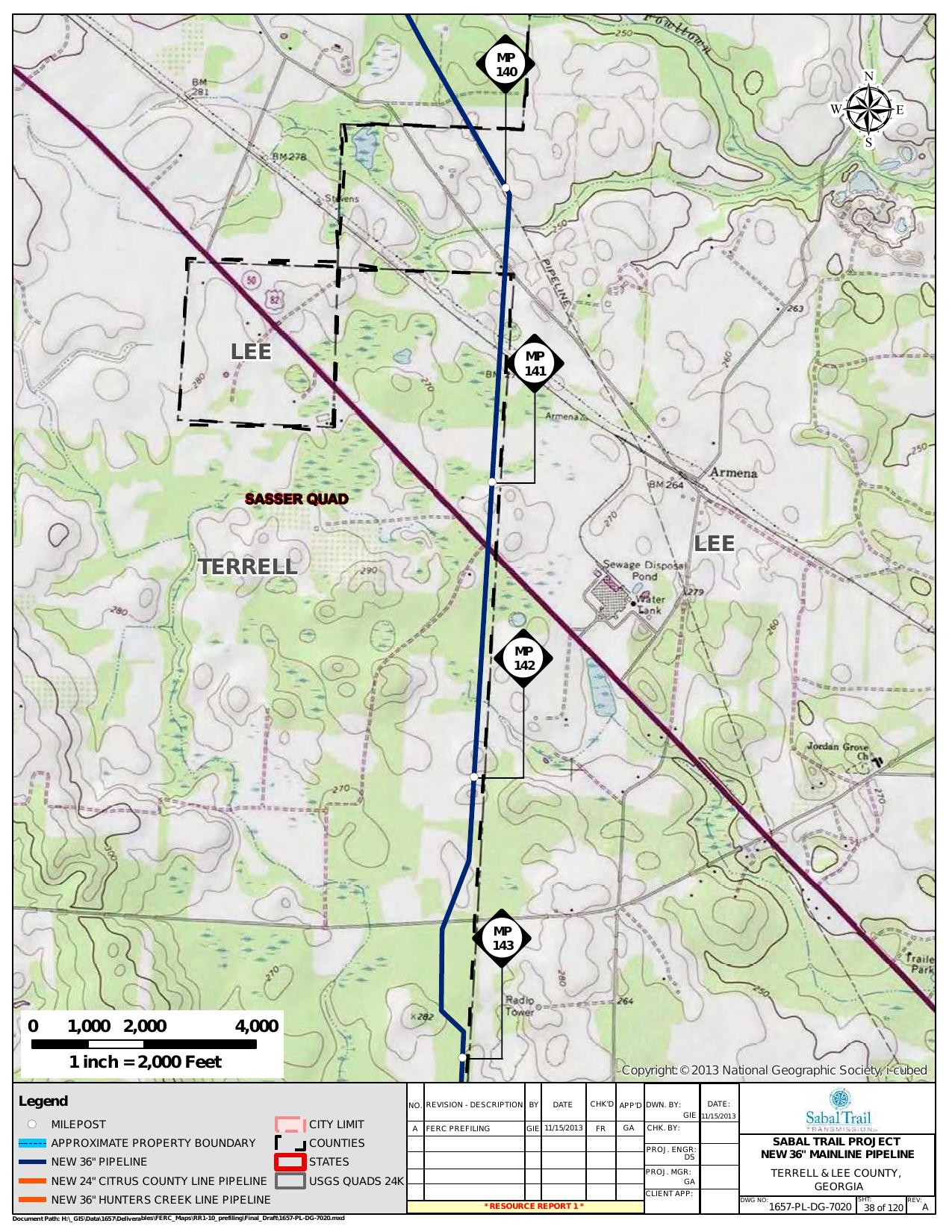 Armena, Terrell and Lee County, Georgia, in General Project Description, by SpectraBusters, for FERC Docket No. PF14-1-000, 15 November 2013, converted by SpectraBusters