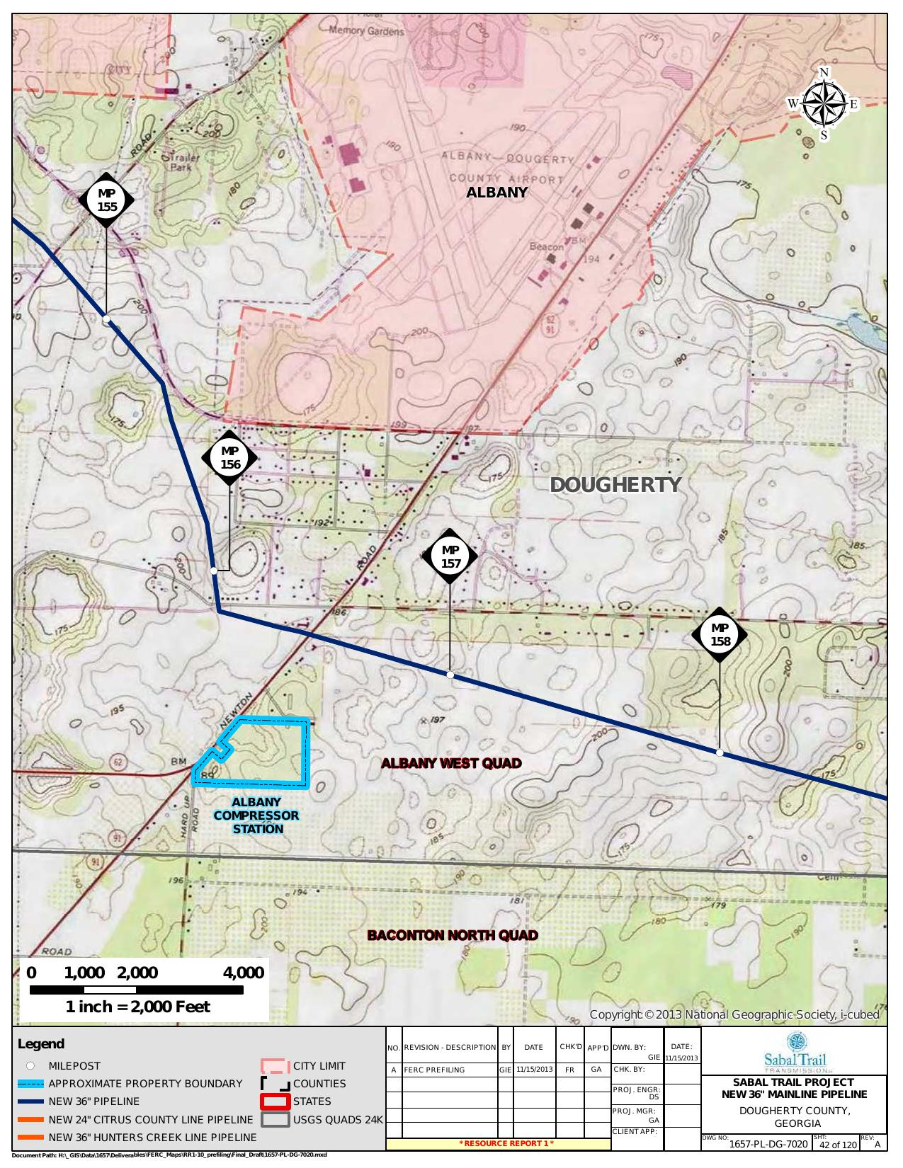 Albany Compressor Station, Dougherty County, Georgia, in General Project Description, by SpectraBusters, for FERC Docket No. PF14-1-000, 15 November 2013, converted by SpectraBusters
