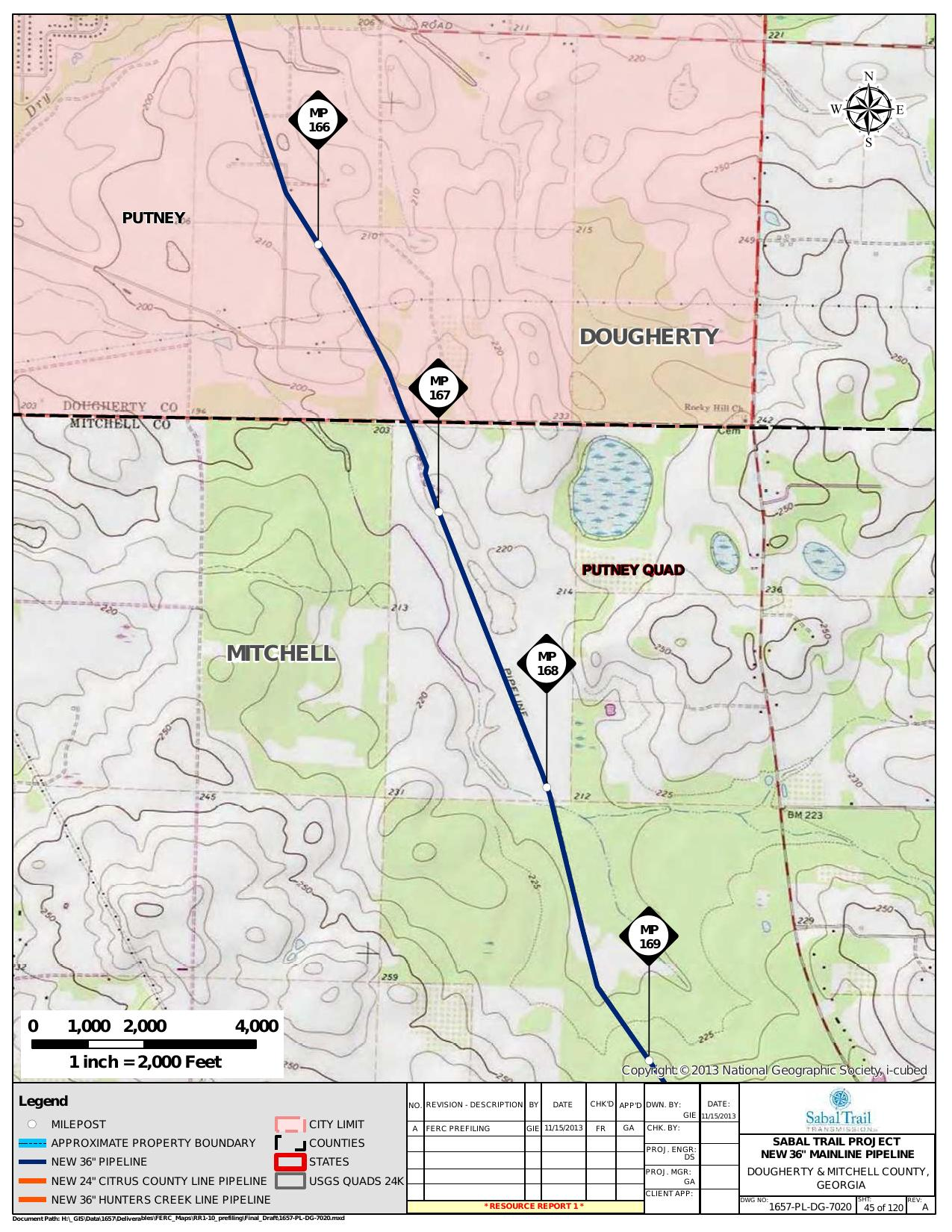 Putney Quad, Dougherty and Mitchell County, Georgia, in General Project Description, by SpectraBusters, for FERC Docket No. PF14-1-000, 15 November 2013, converted by SpectraBusters