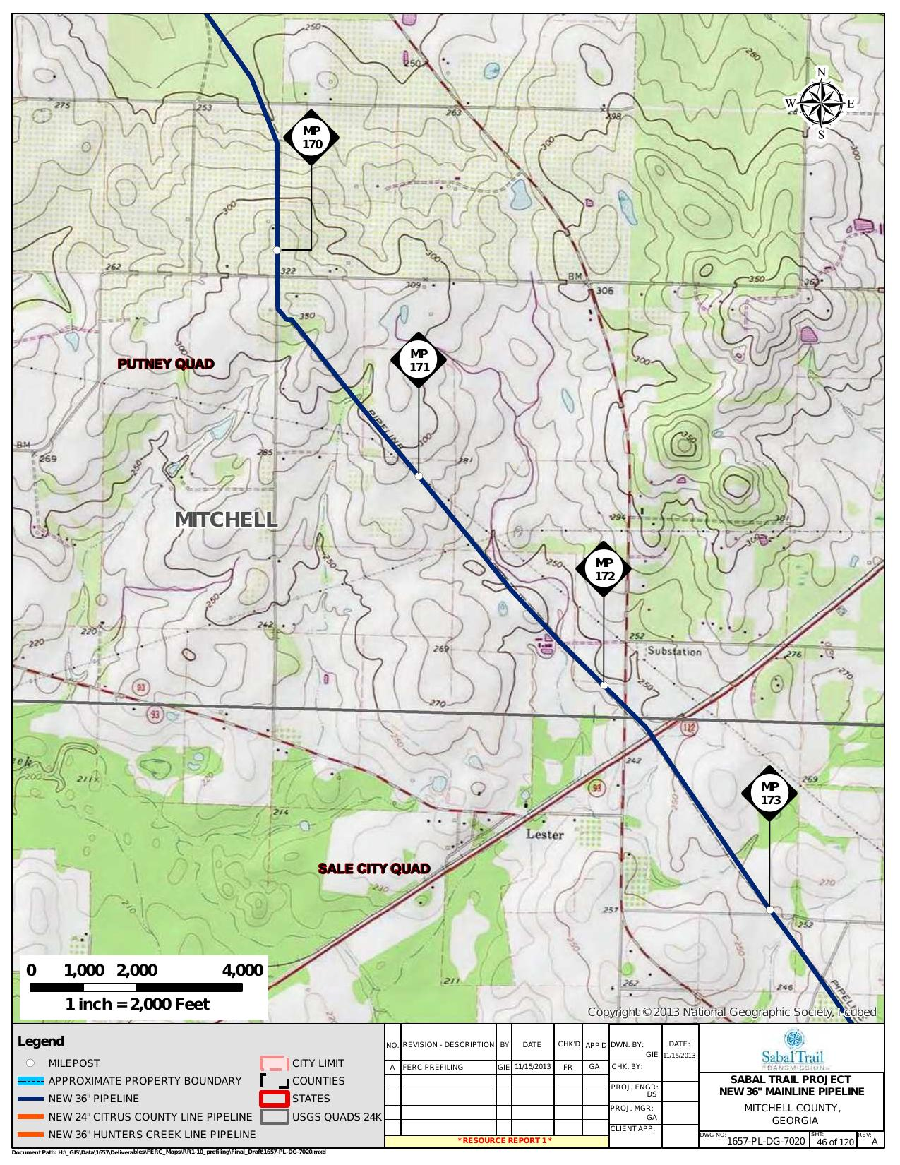 Lester, Mitchell County, Georgia, in General Project Description, by SpectraBusters, for FERC Docket No. PF14-1-000, 15 November 2013, converted by SpectraBusters