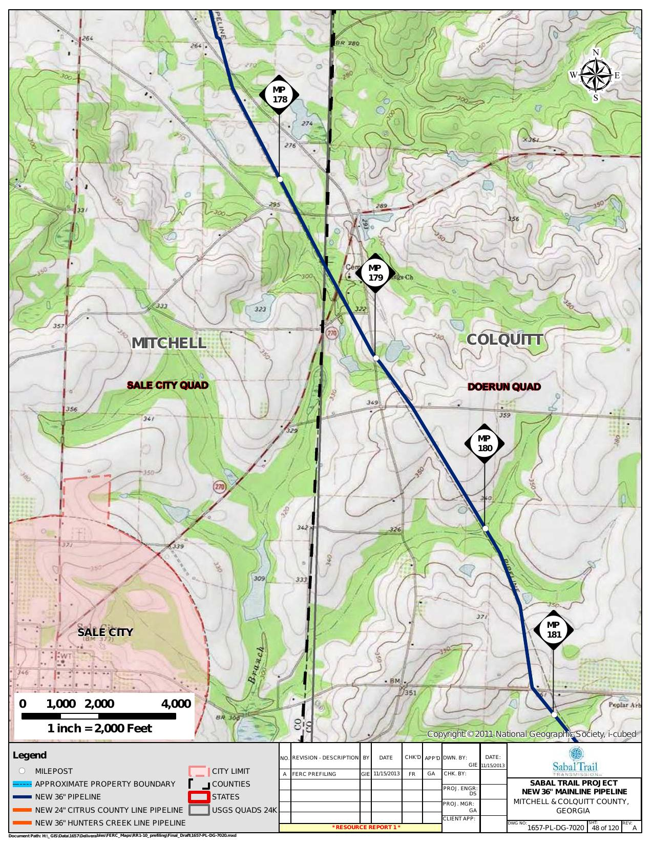 Sale City, Mitchell and Colquitt County, Georgia, in General Project Description, by SpectraBusters, for FERC Docket No. PF14-1-000, 15 November 2013, converted by SpectraBusters