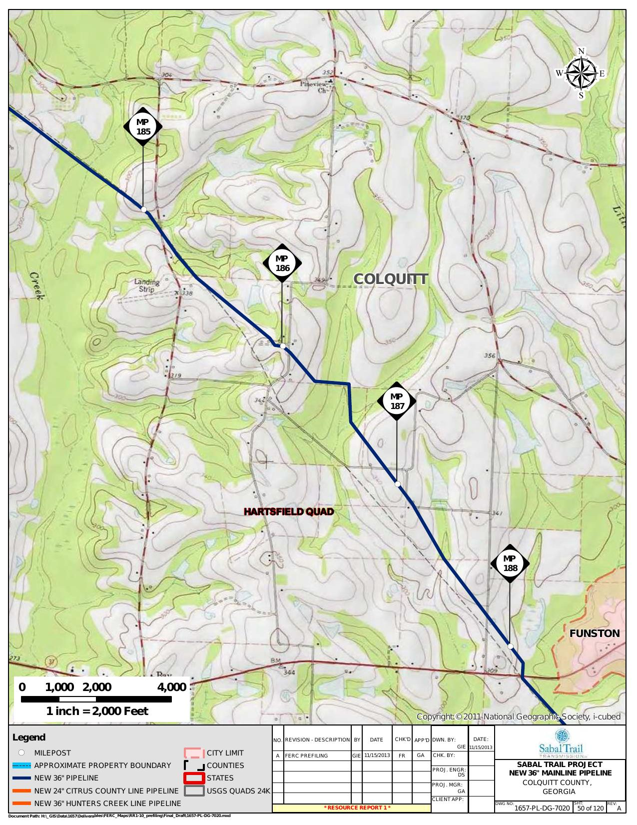Quad Maps For Entire Proposed Pipeline Path By Sabal Trail - Georgia map project