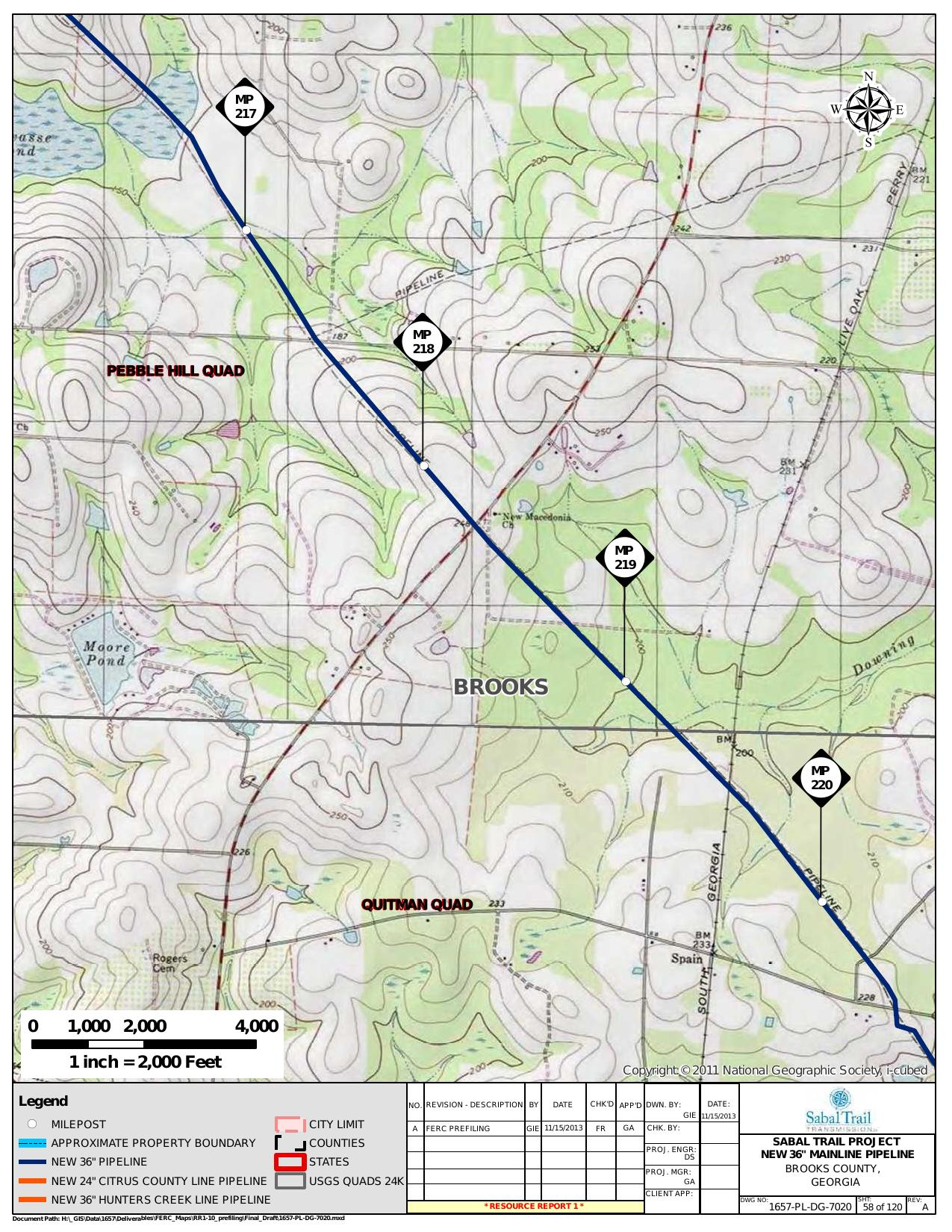 New Macedonia Church and Downing Creek, Brooks County, Georgia, in General Project Description, by SpectraBusters, for FERC Docket No. PF14-1-000, 15 November 2013, converted by SpectraBusters