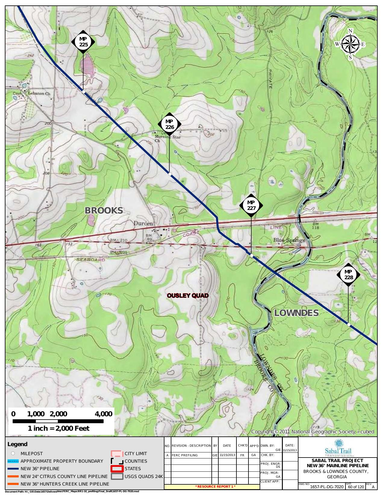 Withlacoochee River, Brooks and Lowndes County, Georgia, in General Project Description, by SpectraBusters, for FERC Docket No. PF14-1-000, 15 November 2013, converted by SpectraBusters