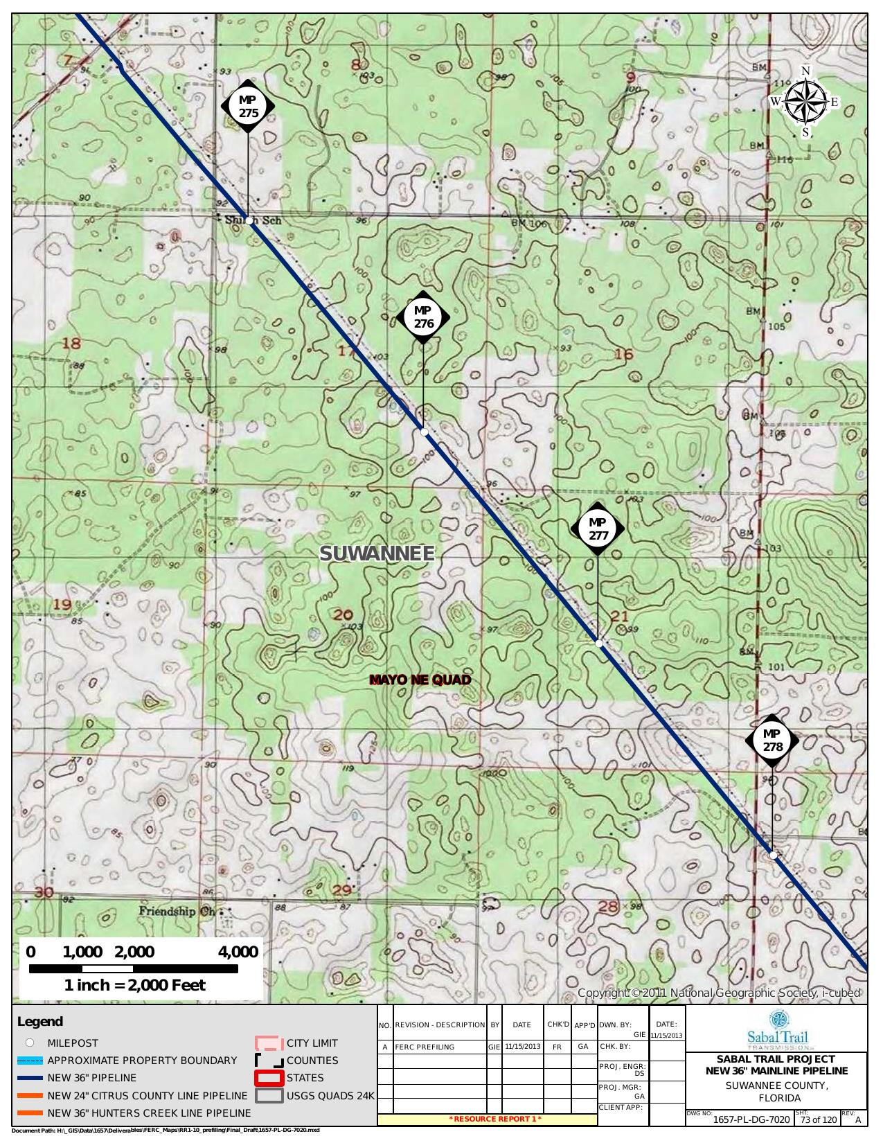 Shiloh School, Suwannee County, Florida, in General Project Description, by SpectraBusters, for FERC Docket No. PF14-1-000, 15 November 2013, converted by SpectraBusters