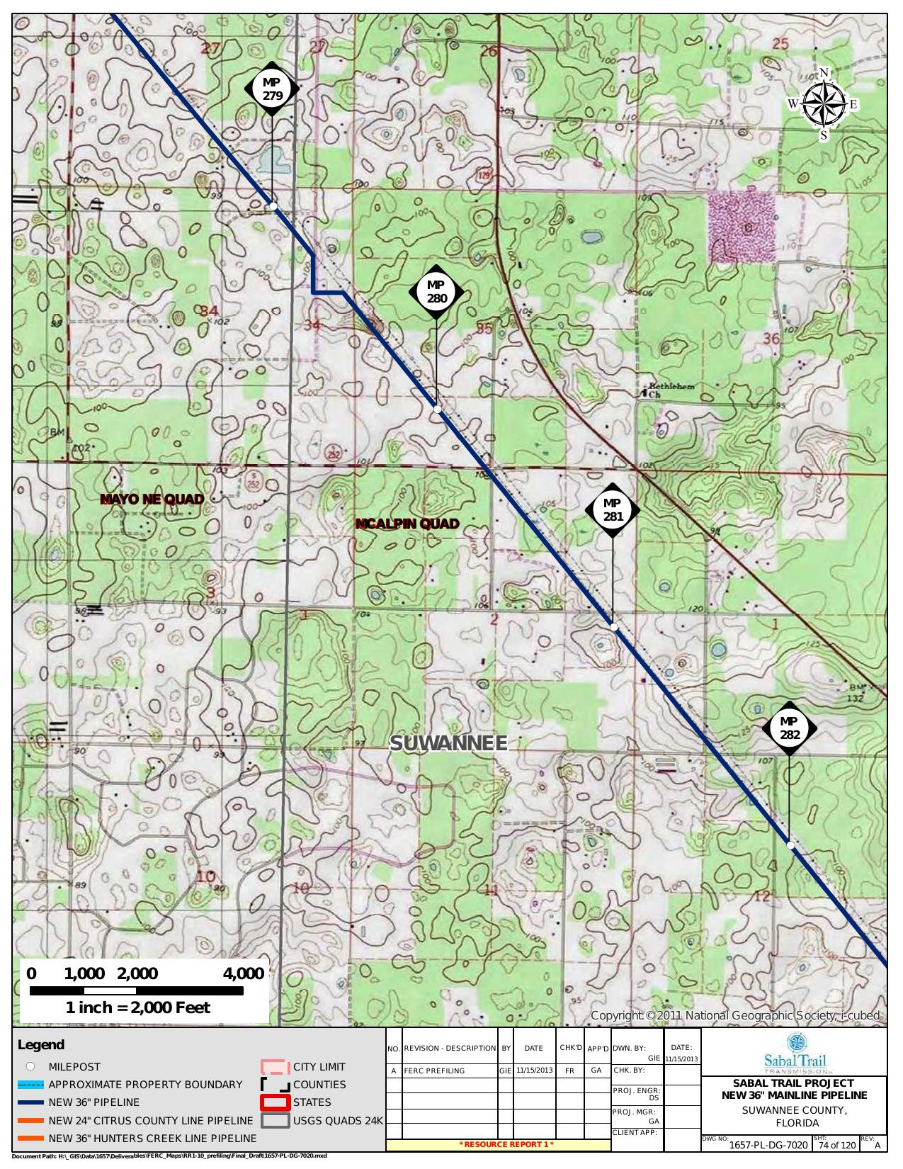 McAlpin Quad, Suwannee County, Florida, in General Project Description, by SpectraBusters, for FERC Docket No. PF14-1-000, 15 November 2013, converted by SpectraBusters