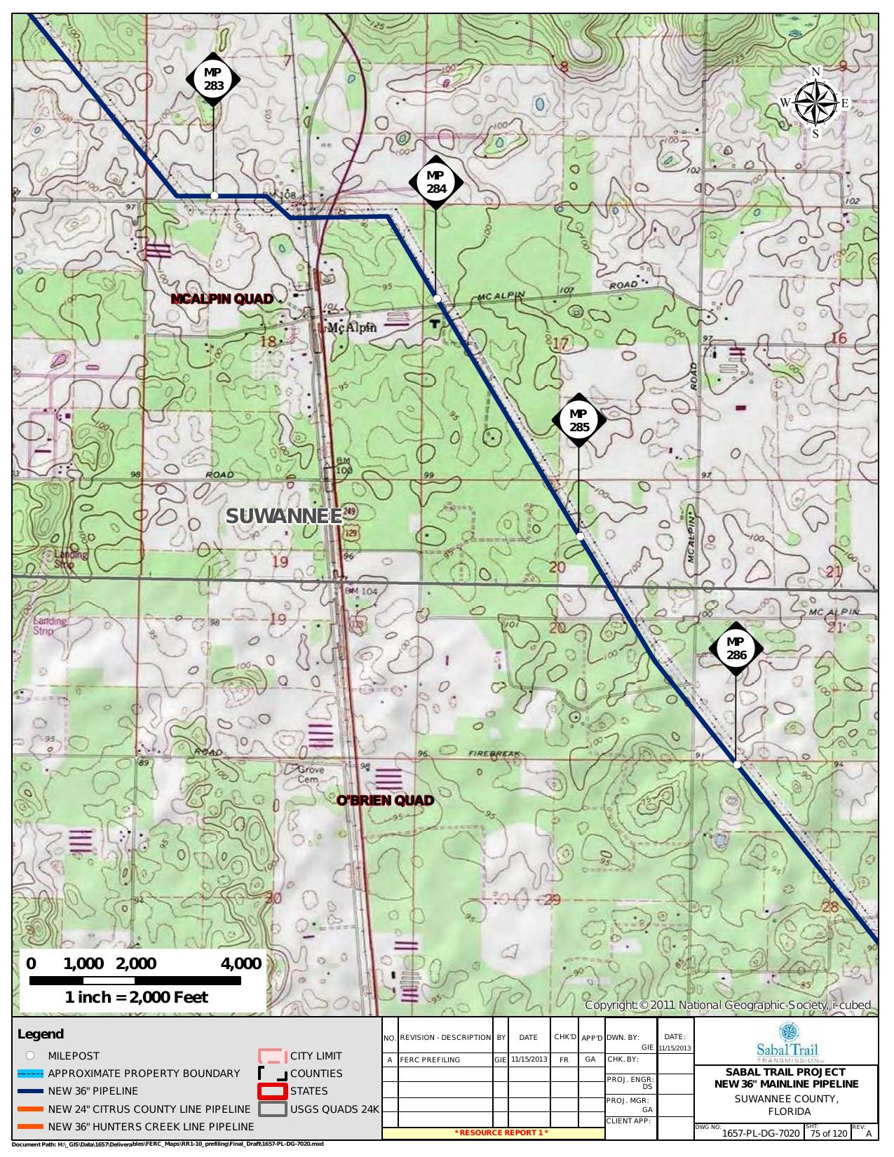 McAlpin, Suwannee County, Florida, in General Project Description, by SpectraBusters, for FERC Docket No. PF14-1-000, 15 November 2013, converted by SpectraBusters