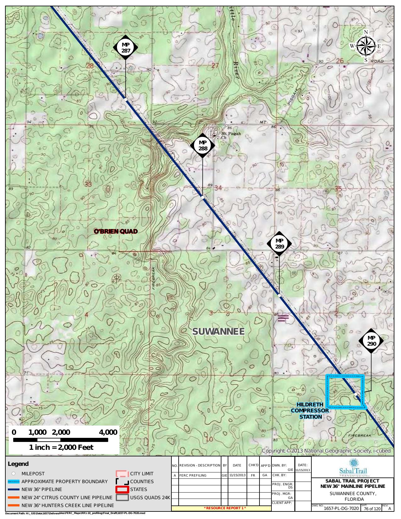 Mt Pisgah Church and Hildreth Compressor Station, Suwannee County, Georgia, in General Project Description, by SpectraBusters, for FERC Docket No. PF14-1-000, 15 November 2013, converted by SpectraBusters