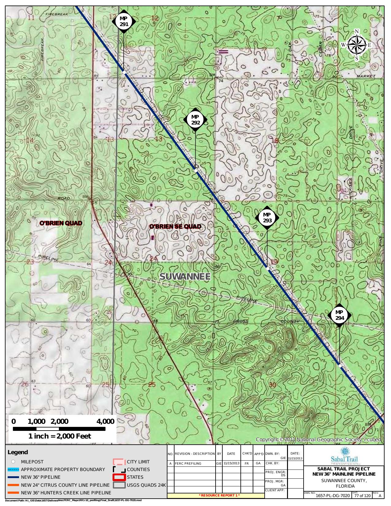 Obrien SE Quad, Suwannee County, Florida, in General Project Description, by SpectraBusters, for FERC Docket No. PF14-1-000, 15 November 2013, converted by SpectraBusters