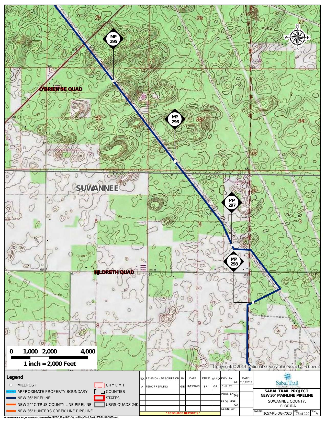 *Hildreth Quad, Suwannee County, Florida, in General Project Description, by SpectraBusters, for FERC Docket No. PF14-1-000, 15 November 2013, converted by SpectraBusters