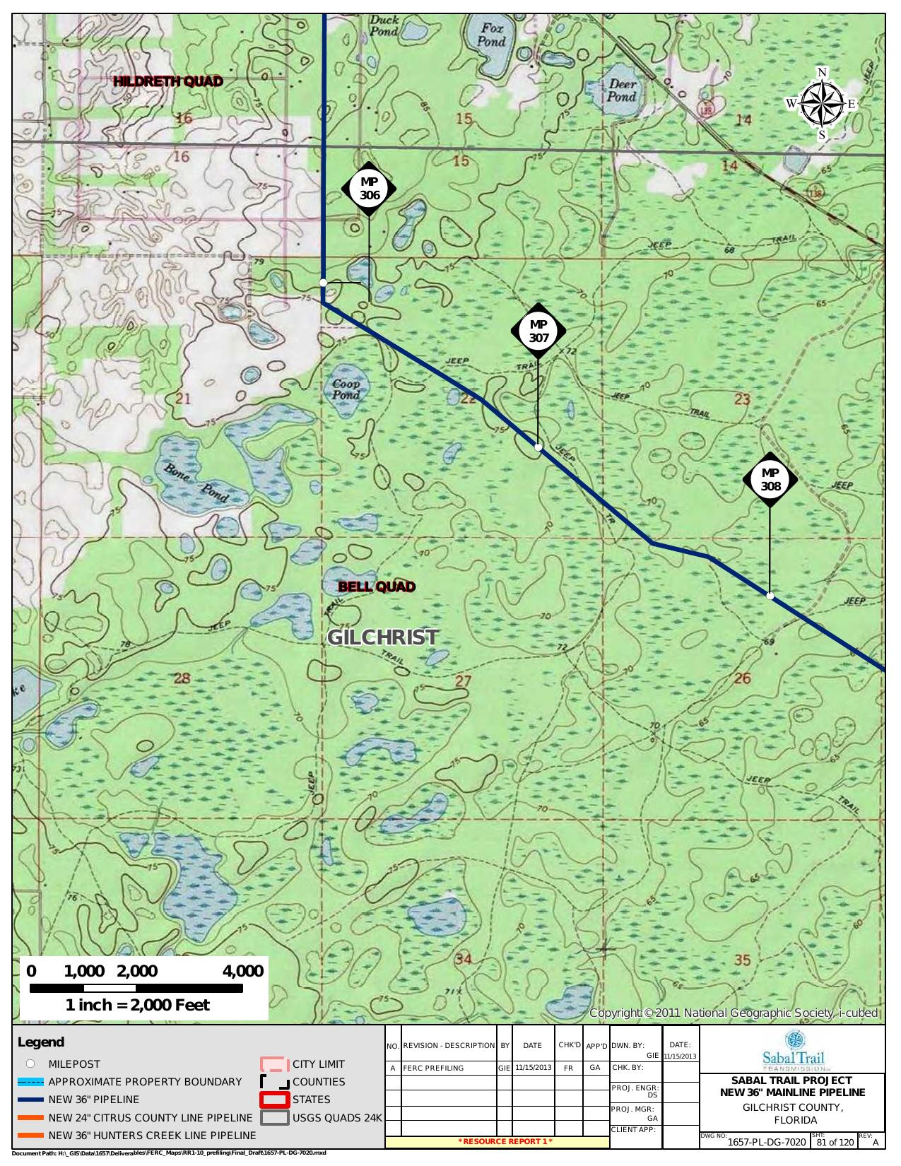 Bell Quad, Gilchrist County, Florida, in General Project Description, by SpectraBusters, for FERC Docket No. PF14-1-000, 15 November 2013, converted by SpectraBusters