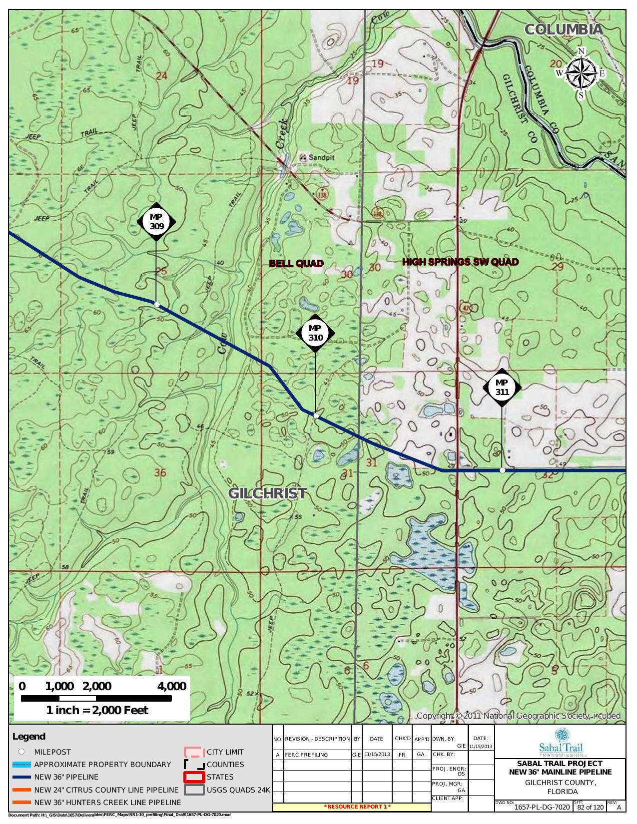 Cow Creek, Gilchrist County, Florida, in General Project Description, by SpectraBusters, for FERC Docket No. PF14-1-000, 15 November 2013, converted by SpectraBusters