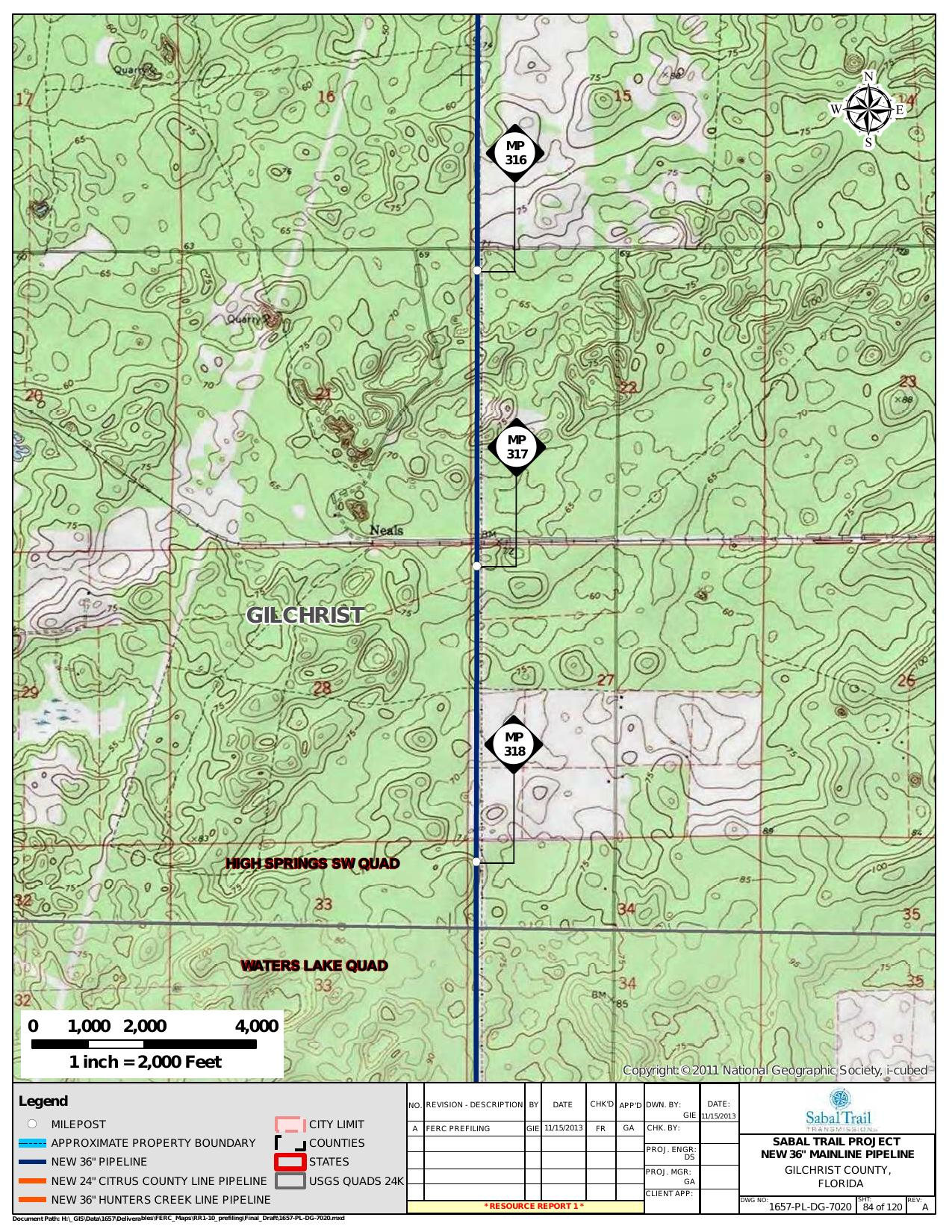 Neals, Gilchrist County, Florida, in General Project Description, by SpectraBusters, for FERC Docket No. PF14-1-000, 15 November 2013, converted by SpectraBusters