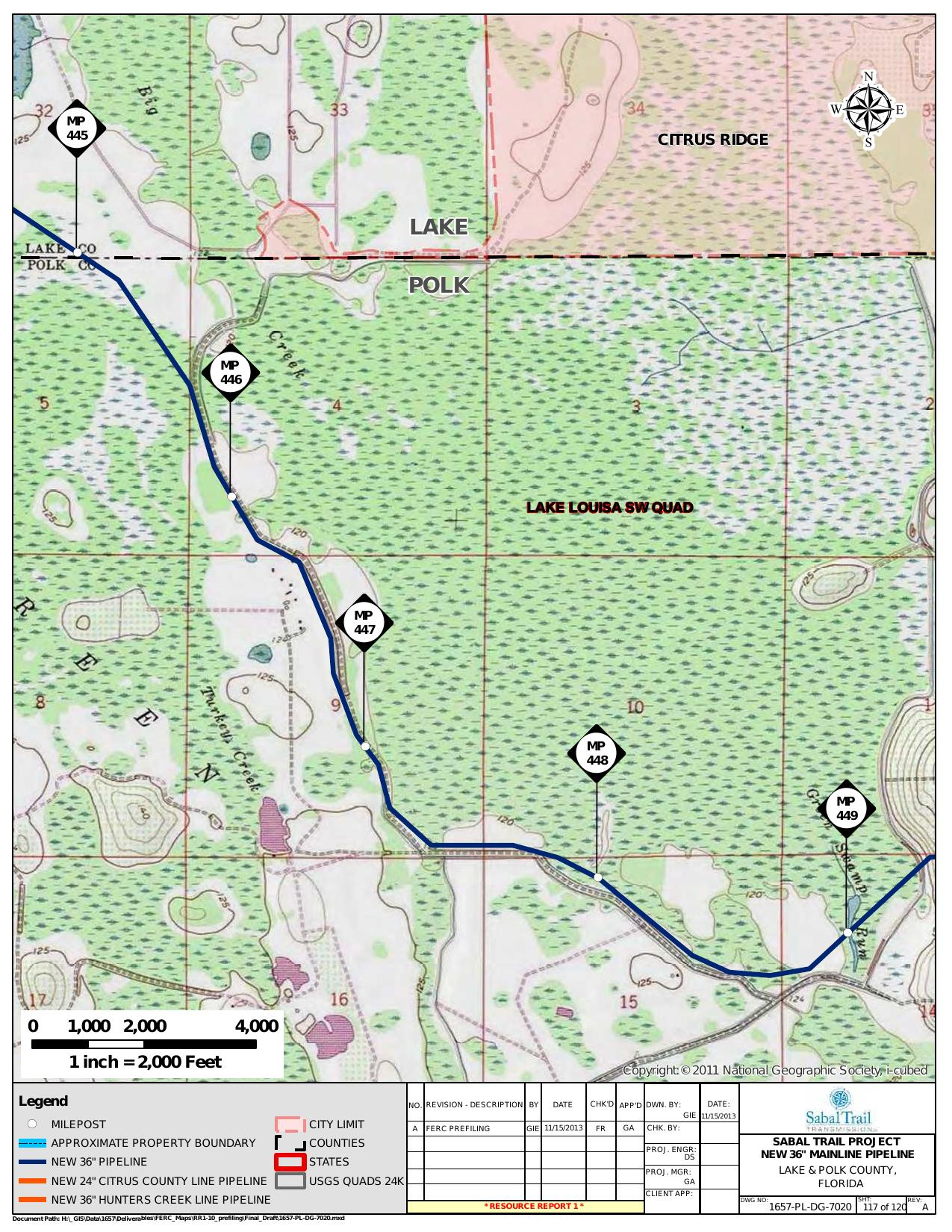 Green Swamp Run, Lake and Polk County, Florida, in General Project Description, by SpectraBusters, for FERC Docket No. PF14-1-000, 15 November 2013, converted by SpectraBusters