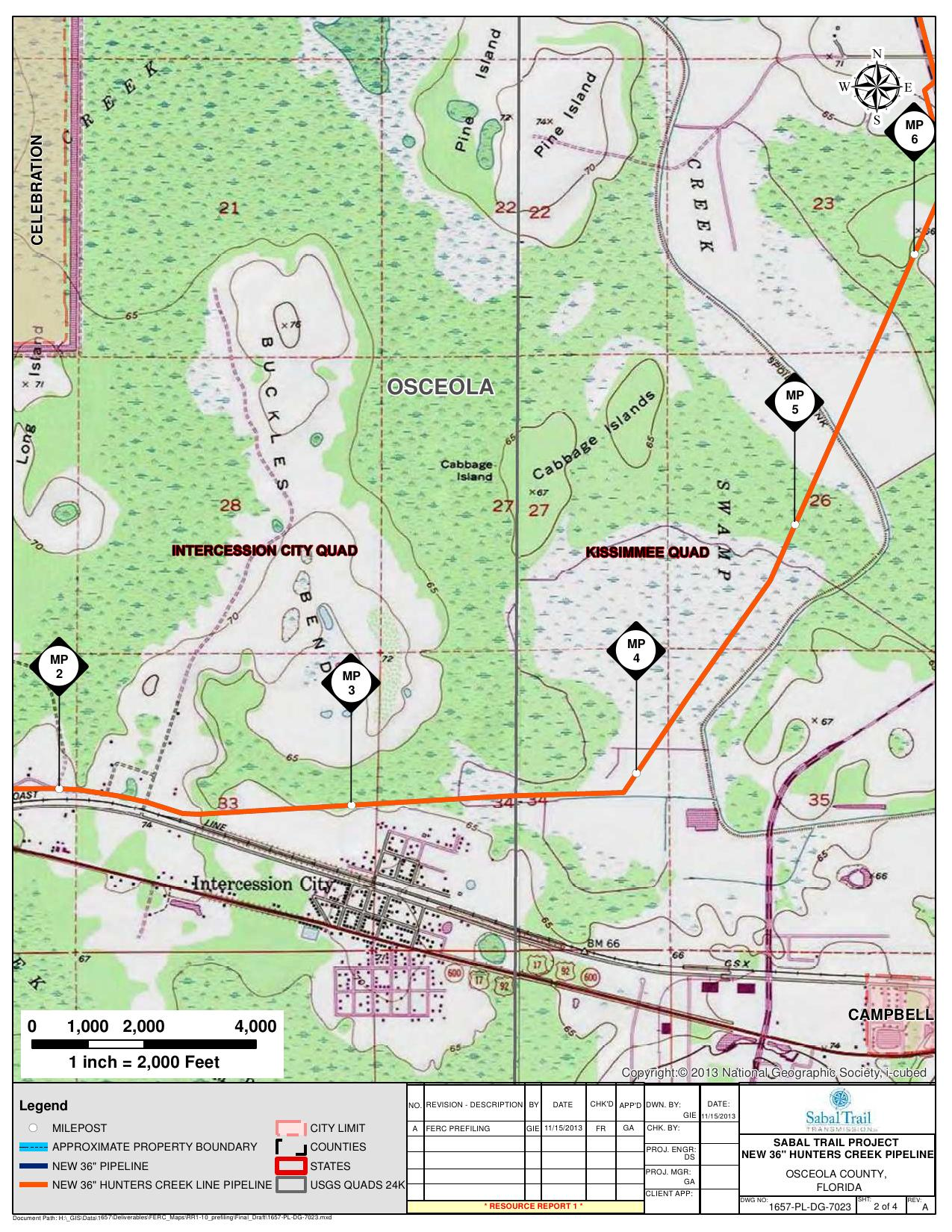 Intercession City, Hunters Creek Pipeline, Osceola County, Florida, in General Project Description, by SpectraBusters, for FERC Docket No. PF14-1-000, 15 November 2013, converted by SpectraBusters