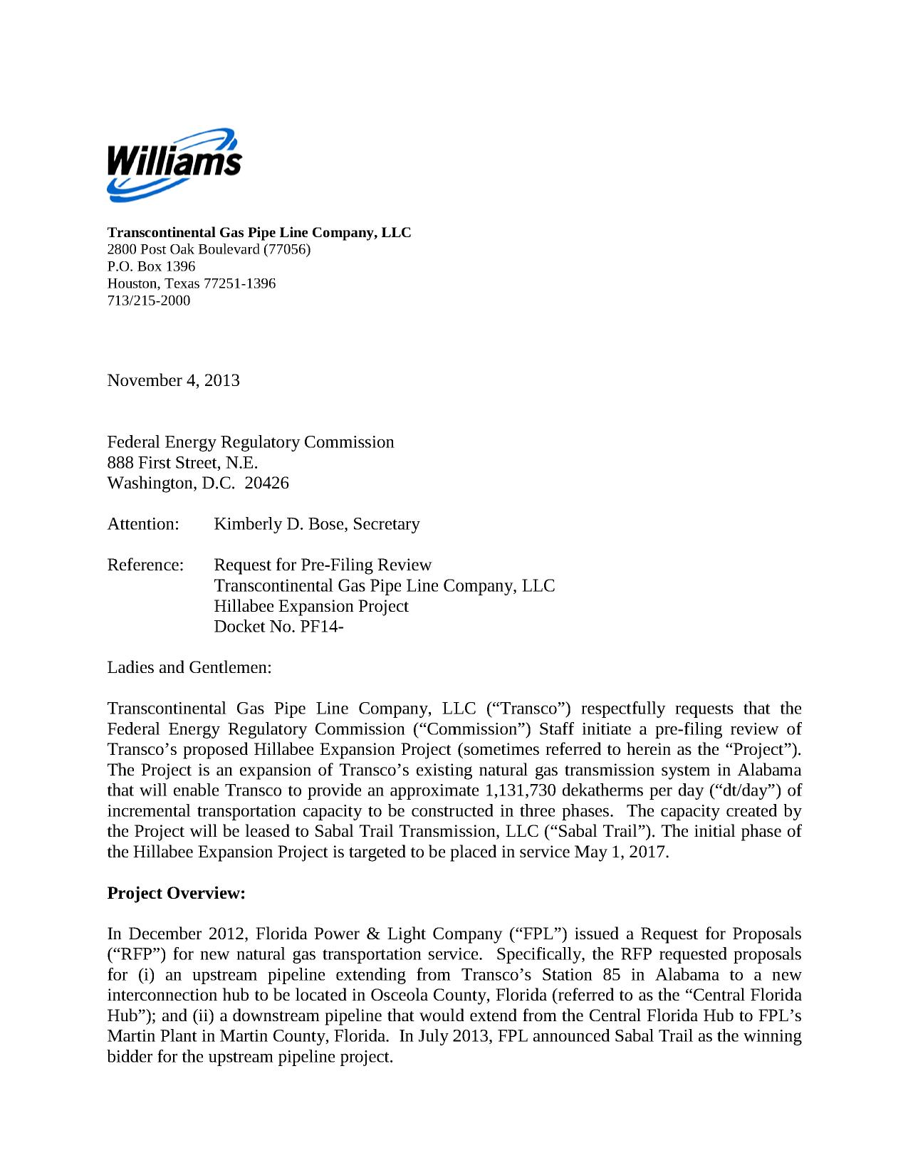 project overview in request for pre filing review by transcontinental gas pipe line - Cover Letter Review