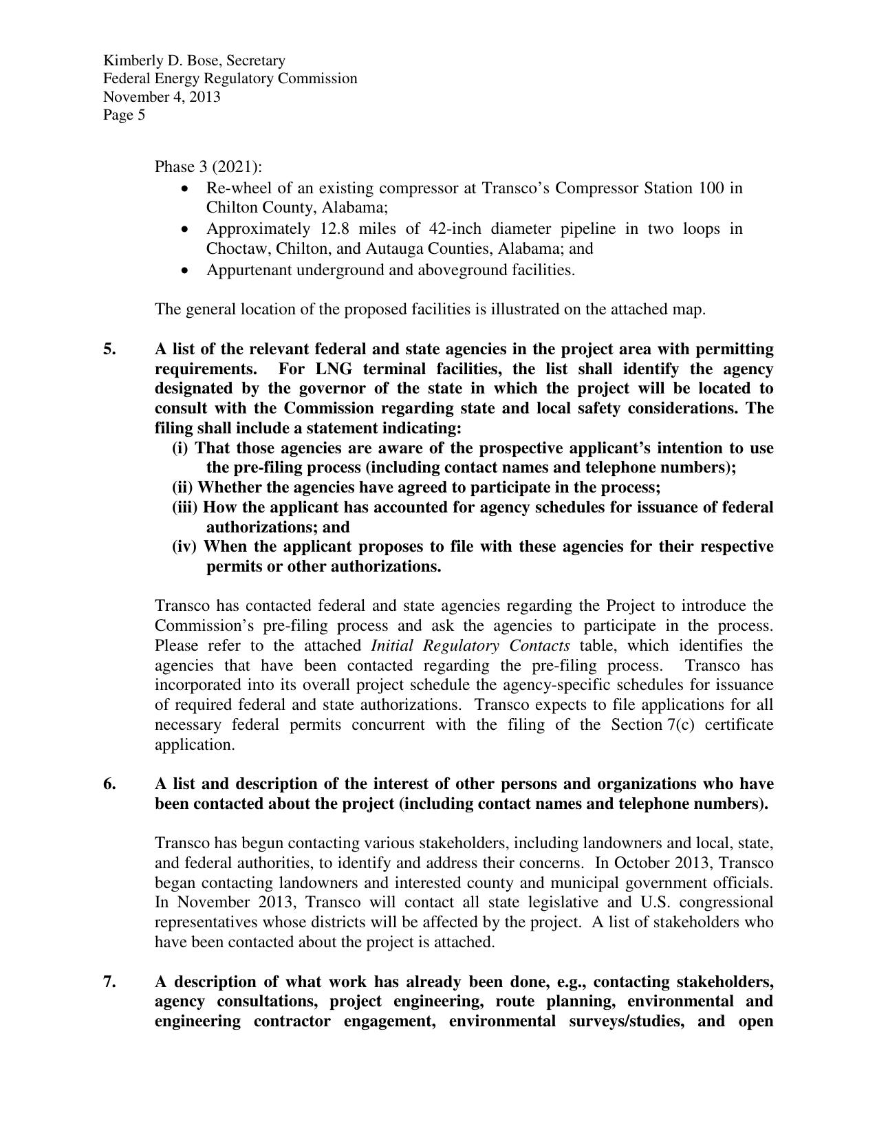 Lists of permitting agencies and other contacts, in Request for Pre-Filing Review, by Transcontinental Gas Pipe Line, for FERC Docket No. PF14-6, 4 November 2013