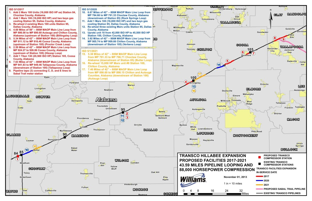 Map of Transco Hillabee Expansion Proposed Facilities 2017-2021, in Request for Pre-Filing Review, by Transcontinental Gas Pipe Line, for FERC Docket No. PF14-6, 4 November 2013