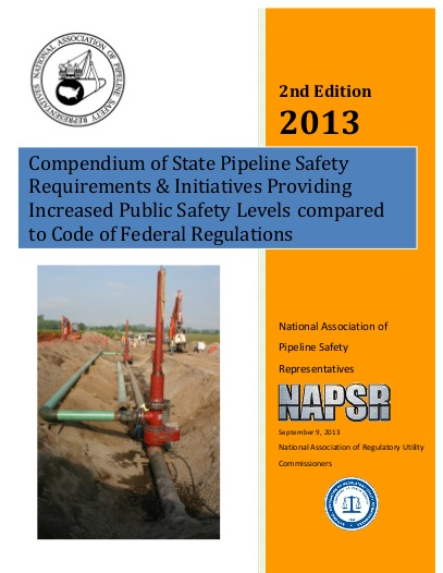 Cover, in Updated Compendium Details State Actions on Pipeline Safety, by NARUC, for SpectraBusters.org, 2013-09-23