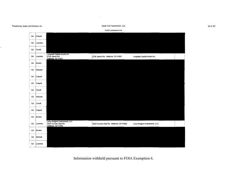 List-2 page 2 with Larry Rodgers Investments, in Redacted version of the Sabal Trails landowner list, by SpectraBusters.org, 10 January 2014