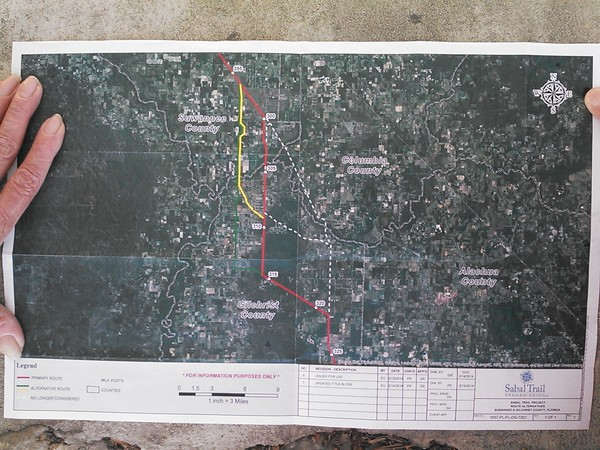 Sabal Trail map of three pipeline routes through Gilchrist County, Florida