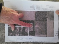Marty Marth pointing out pipeline path on her property, in Gilchrist County Commission, by John S. Quarterman, for SpectraBusters.org, 20 February 2014