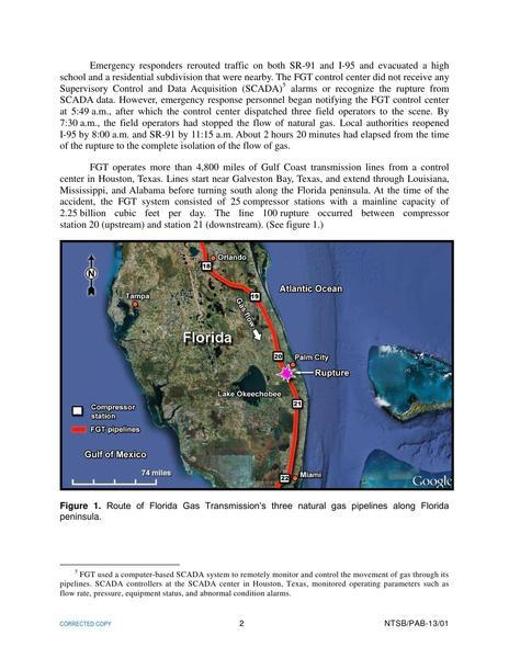 Route of FGTs three pipelines along Florida Atlantic coast, in Rupture of Florida Gas Transmission Pipeline and Release of Natural Gas, by NTSB, for SpectraBusters.org, 4 May 2009