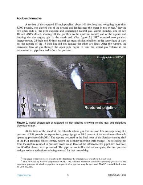 Accident Narrative, in Rupture of Florida Gas Transmission Pipeline and Release of Natural Gas, by NTSB, for SpectraBusters.org, 4 May 2009