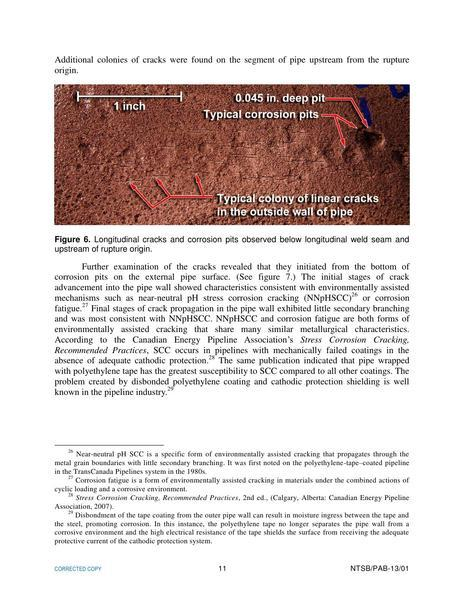 Colonies of cracks, in Rupture of Florida Gas Transmission Pipeline and Release of Natural Gas, by NTSB, for SpectraBusters.org, 4 May 2009