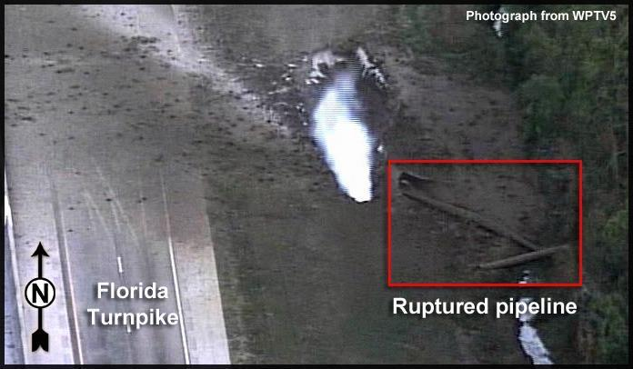 Ruptured pipeline and Florida Turnpike --WPTV5, in Rupture of Florida Gas Transmission Pipeline and Release of Natural Gas, by NTSB, for SpectraBusters.org, 4 May 2009