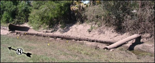 104-foot long 18-inch wide pipe section missile landed, in Rupture of Florida Gas Transmission Pipeline and Release of Natural Gas, by NTSB, for SpectraBusters.org, 4 May 2009