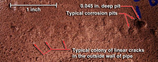 Corrosion pits and cracks, in Rupture of Florida Gas Transmission Pipeline and Release of Natural Gas, by NTSB, for SpectraBusters.org, 4 May 2009