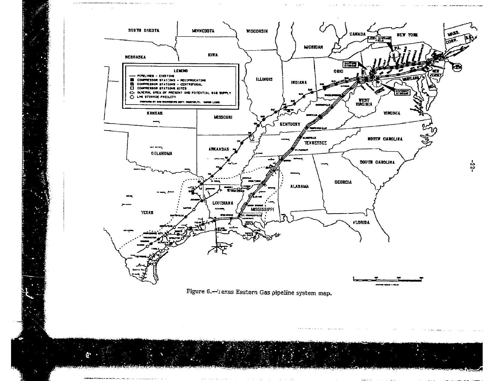 Texas Eastern Gas pipeline system map, in Texas Eastern Gas Pipeline Company Ruptures and Fires, by John S. Quarterman, for SpectraBusters.org, 18 February 1987