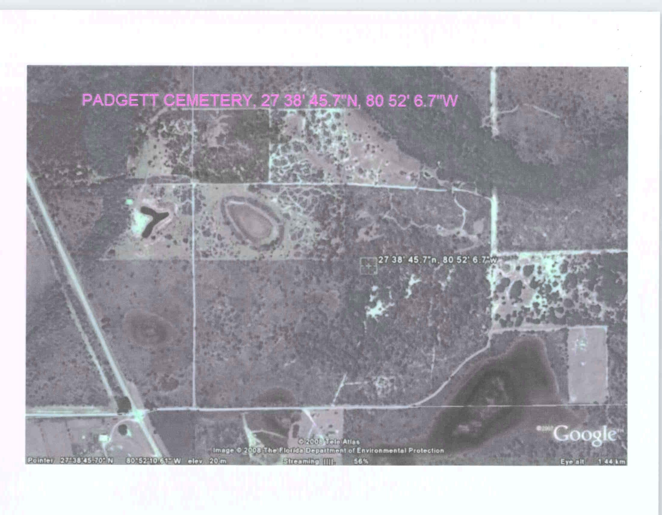 Padgett Cemetery aerial, in Comments of the Olney-Alger Family Trust regarding the planned F, by Olney-Alger Family Trust, for SpectraBusters.org, 18 November 2013