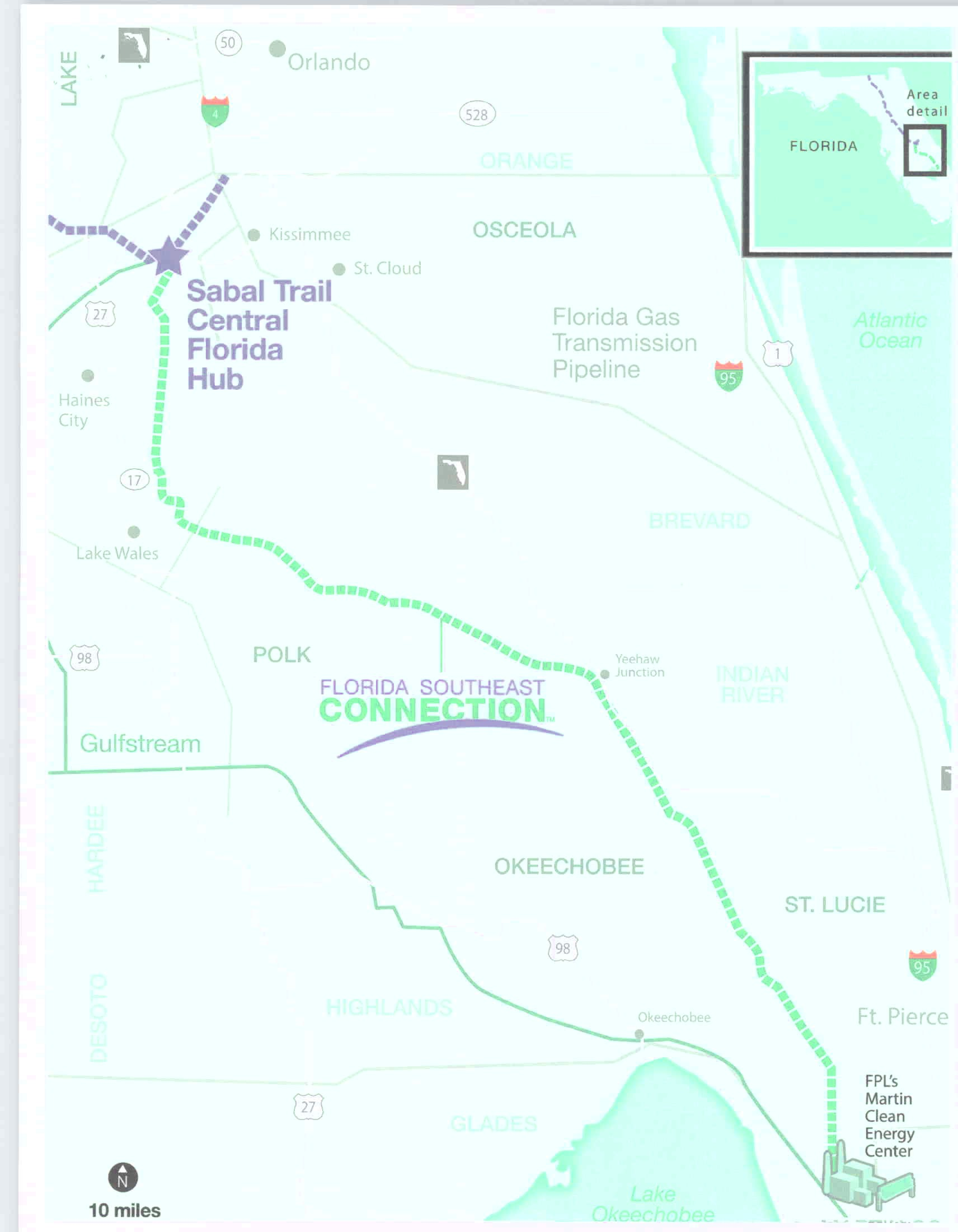 Florida Southeast Connection map, in Comments of the Olney-Alger Family Trust regarding the planned F, by Olney-Alger Family Trust, for SpectraBusters.org, 18 November 2013