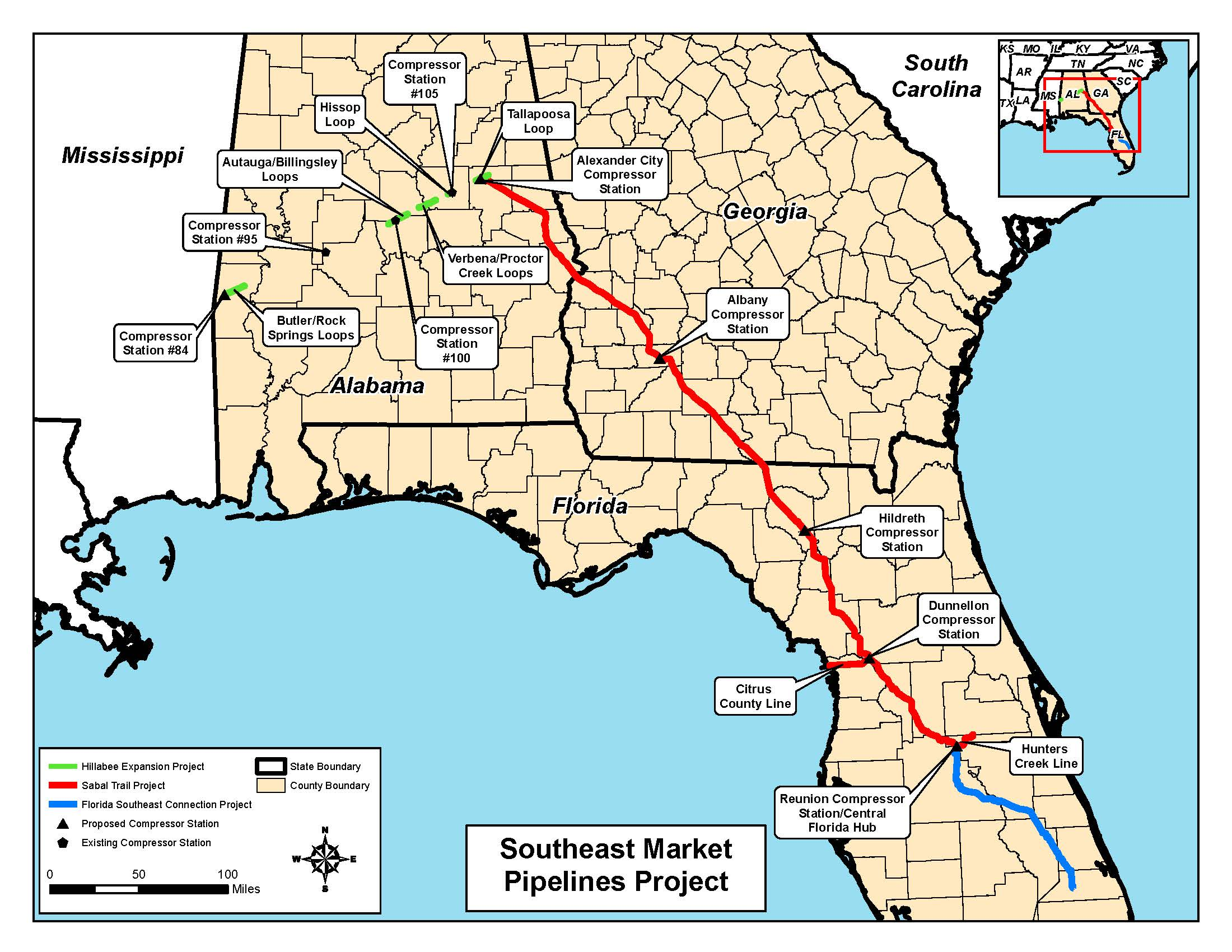 Map of all three pipelines, in Notice of Intent, by FERC, for SpectraBusters.org, 18 February 2014